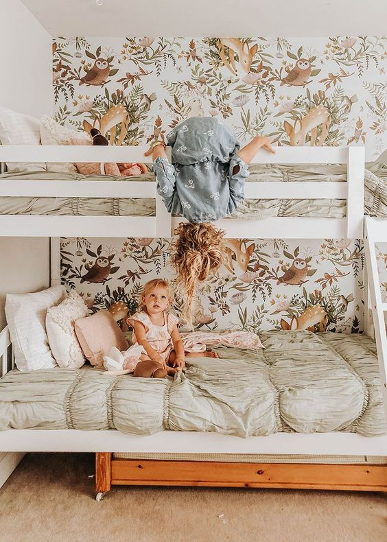 Girls' Room Update -- bunk beds and floral and woodland wall paper