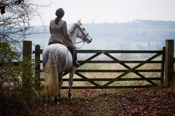 """""""Looking through the mist across the valley towards Broadway Tower [The Cotswolds]"""" From """"The Glories of England by Horseback"""" - Telegraph."""