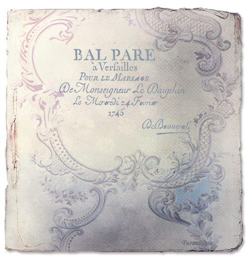 Marie Antoinette inspired invitation
