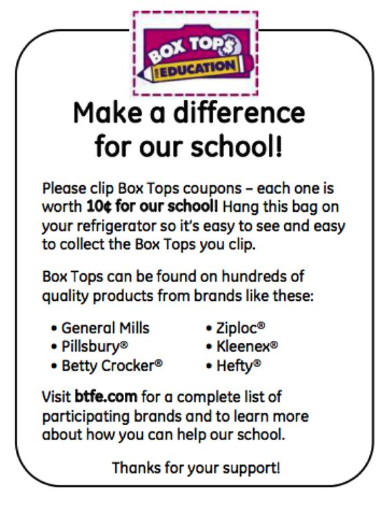 Use these inserts in baggies to promote your Box Tops for Education program.: