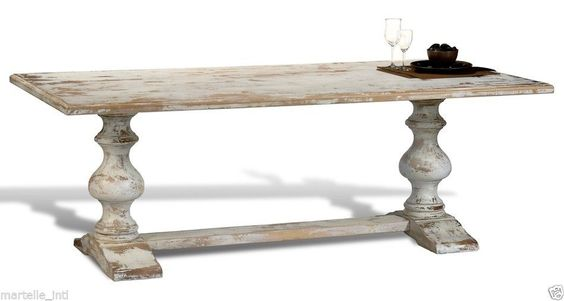 Dining Table French Country White Distress Trestle