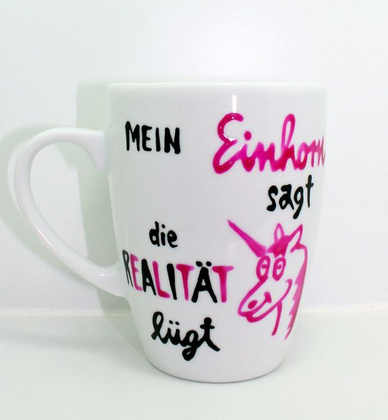 rosa einhorn tasse mit spruch mein einhorn sagt produkte. Black Bedroom Furniture Sets. Home Design Ideas