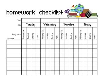 Customizable homework chart