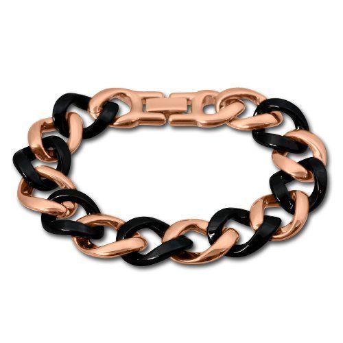 Amello Edelstahl Armband Keramikschmuck schwarz – Panzerarmband rosevergoldet für Damen Edelstahlschmuck Stainless Steel ESAX20S8 | Your #1 ...
