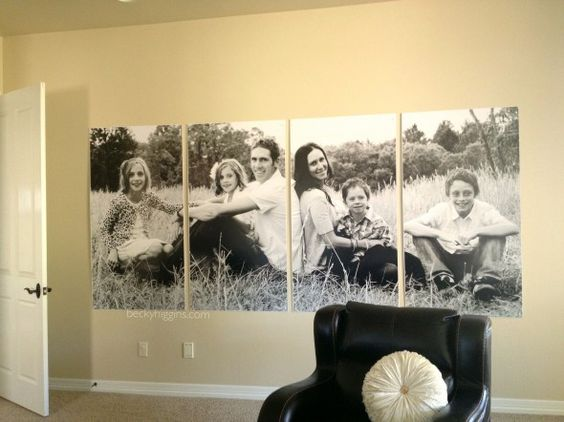 photo broken into sections then printed --great idea for a big blank wall