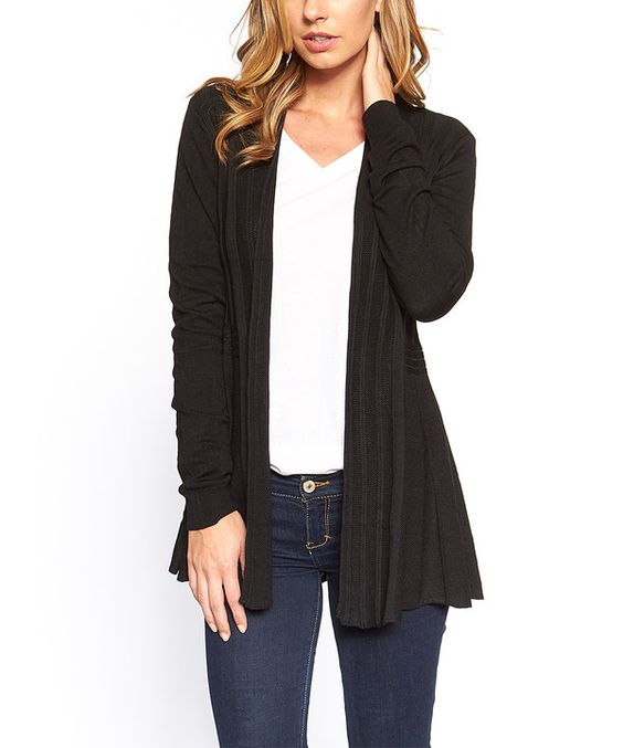 Look at this Black Open Cardigan on #zulily today!