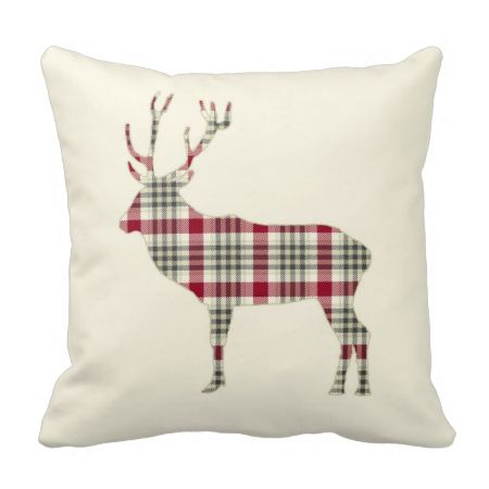 Winter Tartan Plaid Deer Throw Pillows