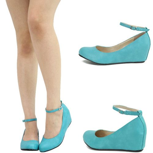 turquoise ankle strap wedge - ebay - $18.95  Operation Peacock