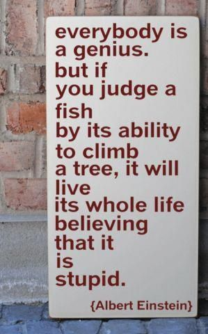 Everybody is a genius, but if you judge a fish by its ability to climb a tree, it will live its whole life believing that it is stupid. - Einstein