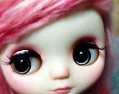 OOAK Middie Blythe Hand Painted Eyechips, Indigo Blue