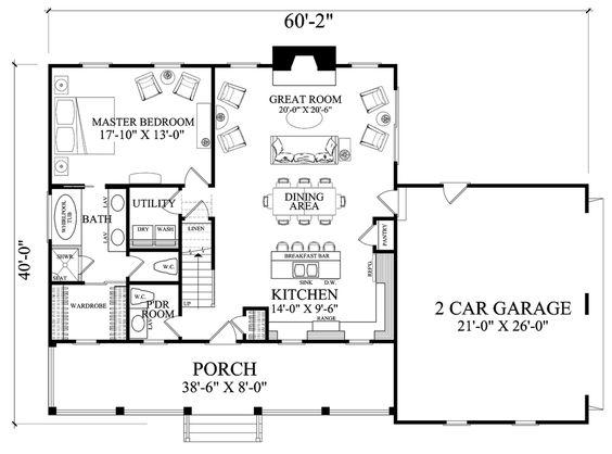 Cottage Style House Plan - 3 Beds 2.5 Baths 1824 Sq/Ft Plan #137-294 Floor Plan - Main Floor Plan - Houseplans.com