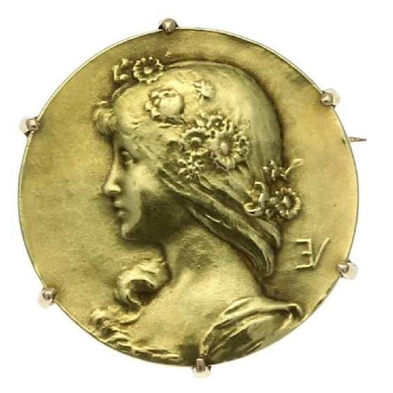 Antique gold pin Lady face signed Emile by adinantiquejewellery