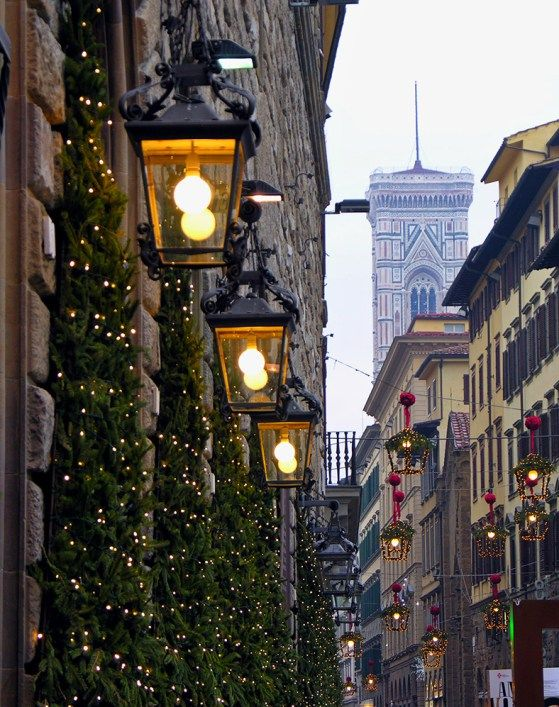 Christmas decorations and Giotto's Bell Tower