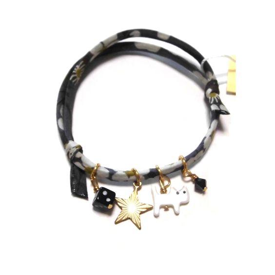 daniela sigurd jewelry ( ダニエラ シグルド ジュエリー )  ブレスレット Cat and star Liberty print bracelet 4 キャット スター リバティプリント 猫 星 サイコロ リバティ ユニセックス ブレス