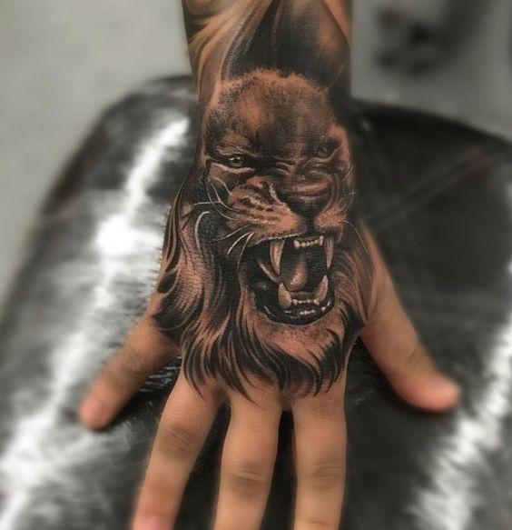 roaring lion tattoo for men