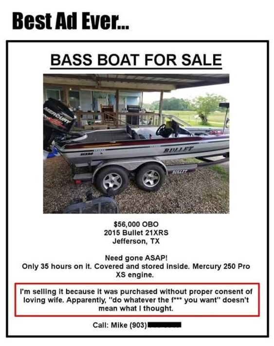 Boat For Sale Thanks Wifey Super Funny Memes Bass Boats For Sale Funny Photos