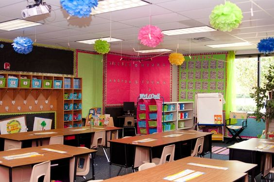 this is a cool cheap and temporary way to decorate those boring classroom walls