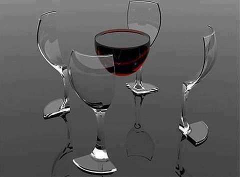A glass of wine (in pieces)