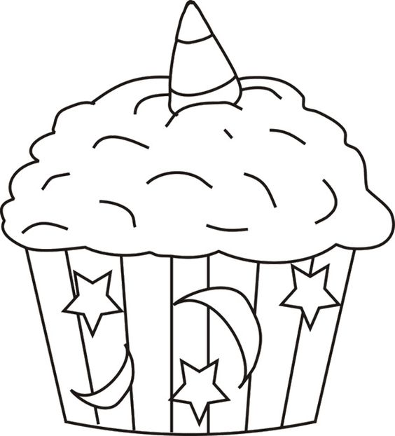 Cupcakes Coloring Pages Halloween Cupcake Coloring Page