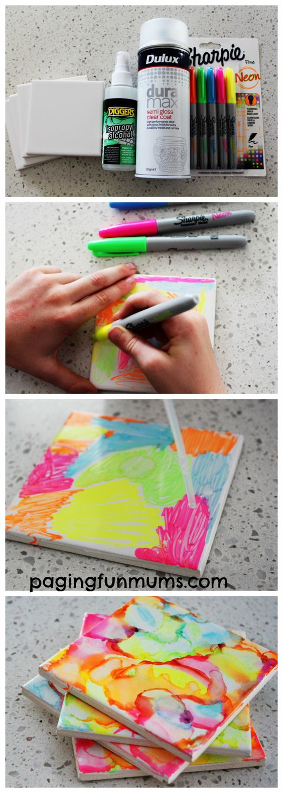 Sharpie Art Tiles by Kids: