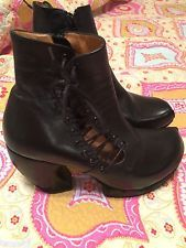 Fluevog Prepare Hi Venture Black Leather Platform Lace Up Boot Bootie 10.5 $389