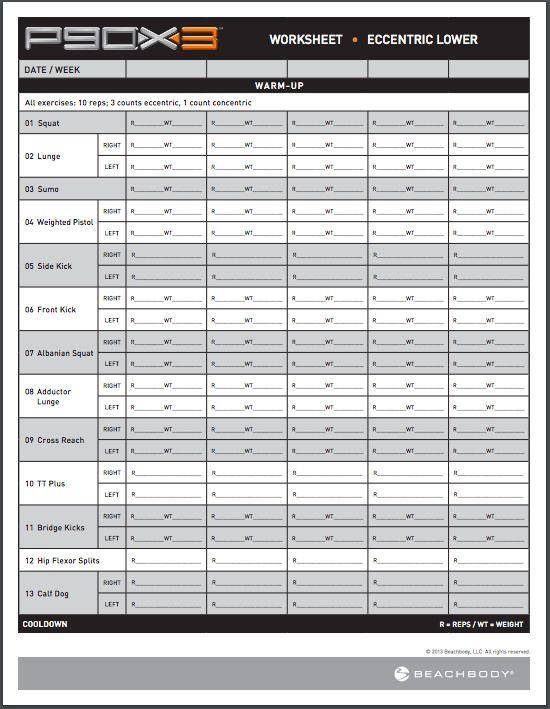 P90X3 Workout Sheets P90X3 Eccentric Lower Free PDF Download - workout program sheet