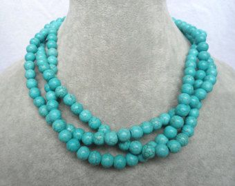 Turquoise Necklaces, 18 Inches 8mm 3 Strands bead  Necklace,Wedding Jewelry,Necklace,