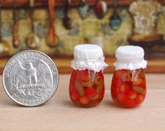 Canned vegetables miniature jars. Miniature by Irinaminiatures
