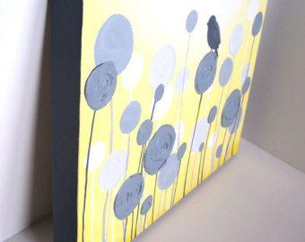 Jaune gris et blanc texturé fleur Art 24 x 30 par MurrayDesignShop