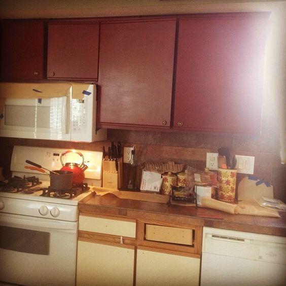 Ugly melamine cabinets laminate and oak wood trim new cabinet make
