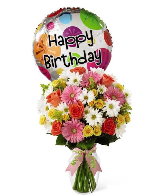 Say Happy Birthday with these cheerful blooms! The Birthday Wishes Bouquet from GrowerDirect.com comes with roses, daisy pompoms and gerbera daisies. #birthdays #flowers