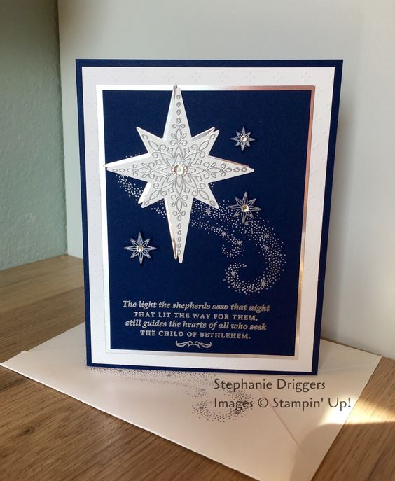 Stampin Up Star of Light stamp set. Night of Navy, and whisper white card stock