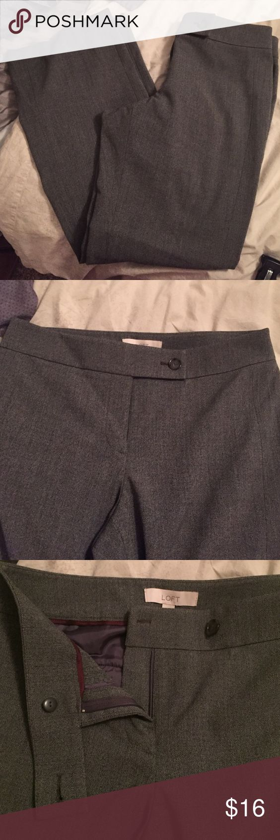 """LOFT Julie pant. Boot cut style. Charcoal gray career pant. 64% polyester 32% rayon 4% spandex. Cute single button tab front. Waist: 17""""  Inseam: 32"""" Pants Boot Cut & Flare"""