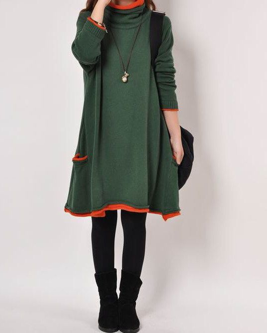 Dark green cotton sweater knitwear knitted sweater by lsmartmiss