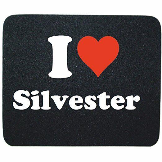 """Exklusive Geschenkidee: Mauspad """"I Love Silvester"""" in Schwarz, eine tolle Geschenkidee die von Herzen kommt- Rutschfestes Mousepad- Weihnachts Geschenktipp"""