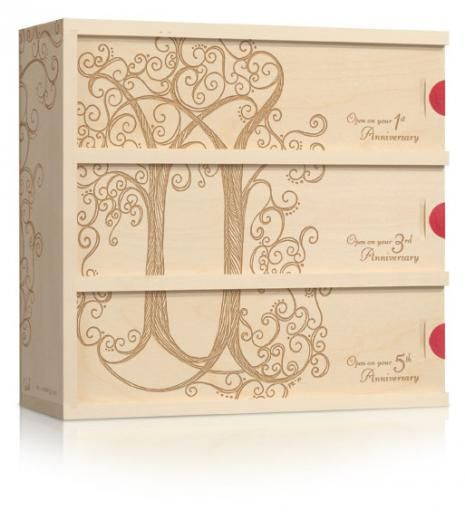 The Cara Trees engraved wine box is a wedding anniversary gift idea that couples can enjoy on their anniversaries. Check out this lovely wine box, featuring the art of Pam Kwarchak. This unique box has 3 compartments that age a bottle of wine for a future anniversary celebration.  A toast to the future it makes a great wedding or engagement gift! #wineforawedding #wineboxartist