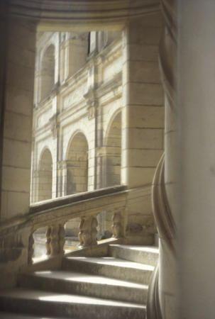 Chateau Chambord in Valle de la Loire, #France. Stairwell designed by Leonardo Da Vinci.