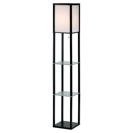 Adesso Berk Shelf Floor Lamp - Black