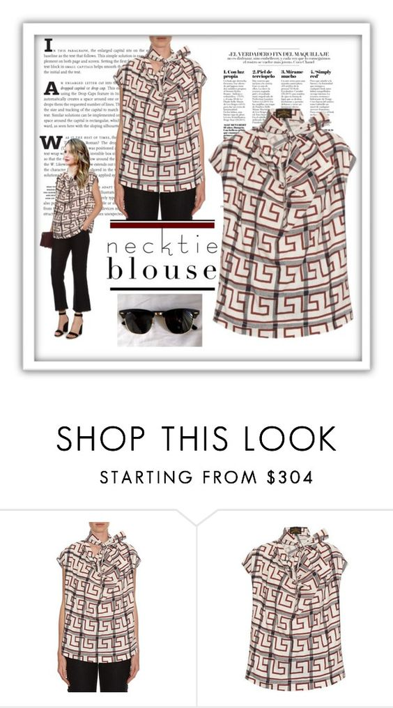 """""""Fall Trend: Necktie Blouse"""" by belldraw ❤ liked on Polyvore featuring Vivienne Westwood Anglomania, Ray-Ban, viviennewestwood and falltrend"""