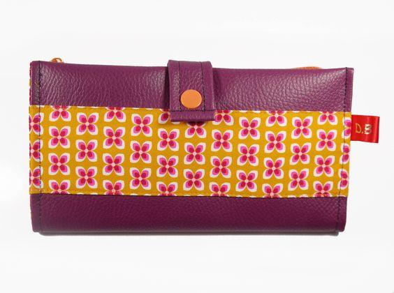 Portefeuille Porte-chéquier en simili-cuir violet : Porte-monnaie, portefeuilles…
