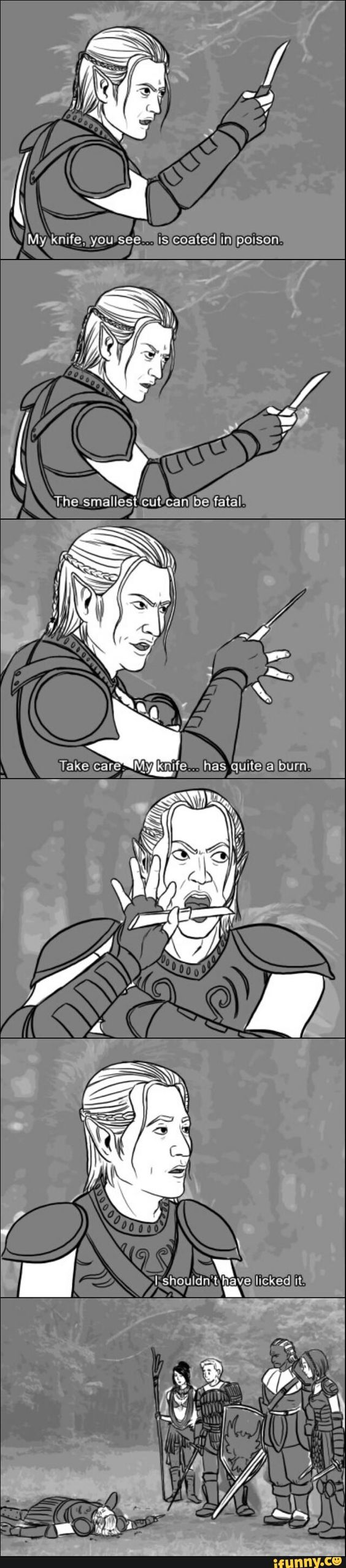 Dragon Age Origins - again, shouldn't be this funny, but it is
