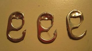 upcycled fishing hooks  barbs removed..