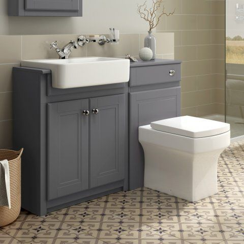 1167mm Cambridge Midnight Grey Combined Vanity Unit Belfort Pan Soak Com Bathroom Furniture Storage Grey Bathroom Furniture Bathroom Vanity Units