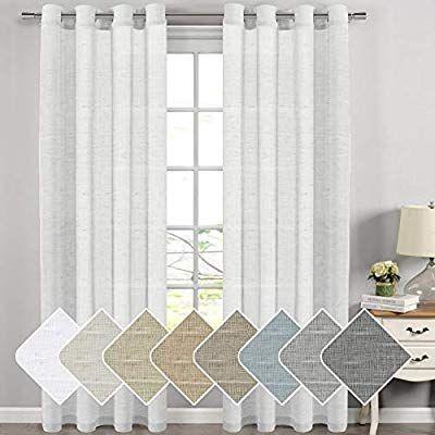Amazon Com Elegant Natural Linen Sheer Curtains For Bedroom