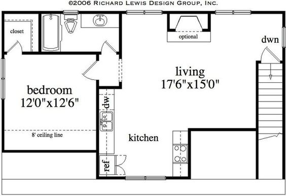 Floor plan for garage with living quarters traditional 3 for Garage with living quarters one level