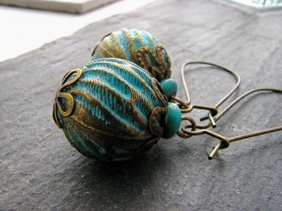 Turquoise Vintage Lucite and Brass Earrings by ChelseaGirlDesigns