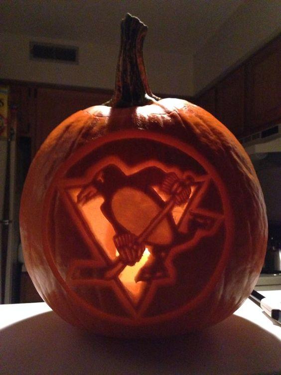Pittsburgh Penguins Hockey Halloween pumpkin