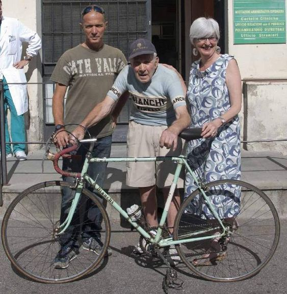 Valeriano Falsini with his Bianchi