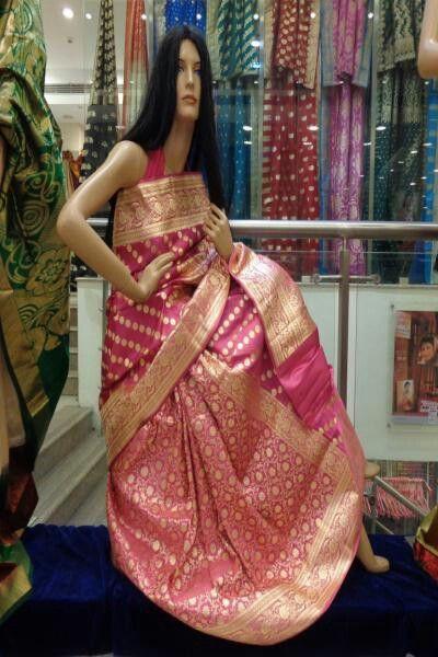 Pink Banarasi Saree From Sriniketan Kolkata Banarasi