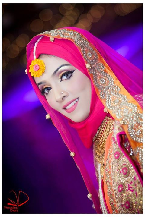 Pink Hijab for mehndi look